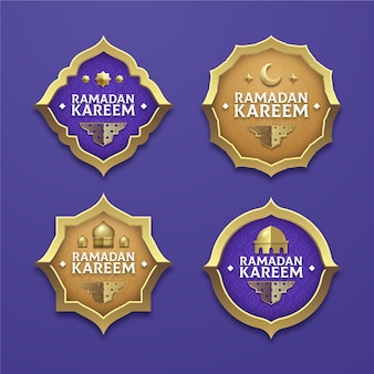 Realistic ramadan badge collection
