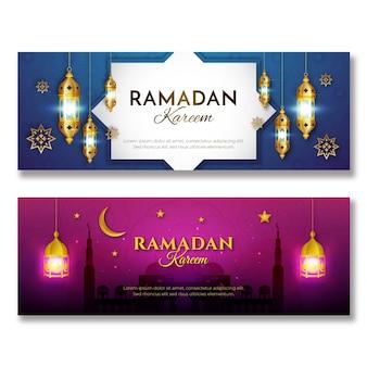 Realistic ramadan banners