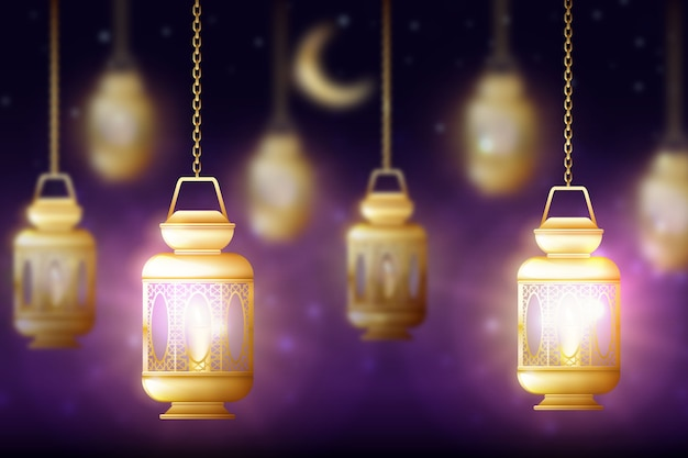 Realistic ramadan celebration concept