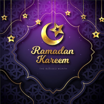 Realistic ramadan concept background