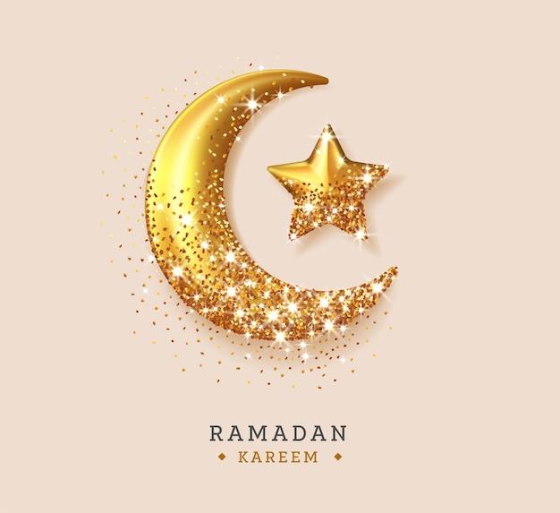Realistic ramadan illustration with sparkles