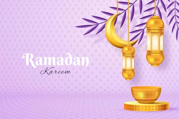 Realistic ramadan kareem background