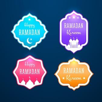 Realistic ramadan kareem badge collection