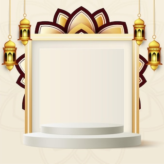 Realistic ramadan kareem banner with 3d podium