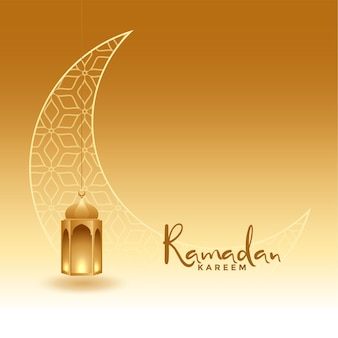 Realistic ramadan kareem golden greeting