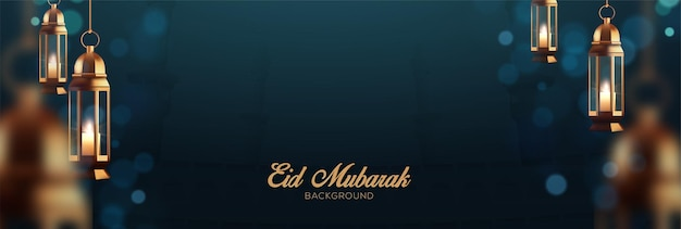 Realistic ramadan kareem holiday banner design with 3d golden lamp hanging