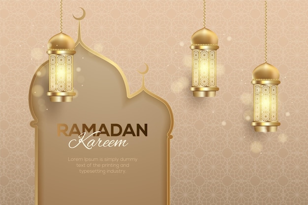 Realistic ramadan kareem illustration