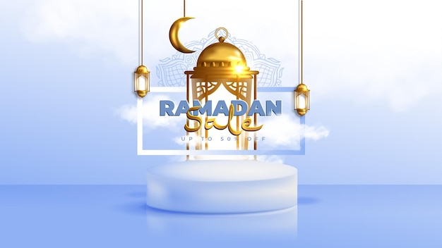Realistic ramadan kareem sale banner with 3d podium and discount frame