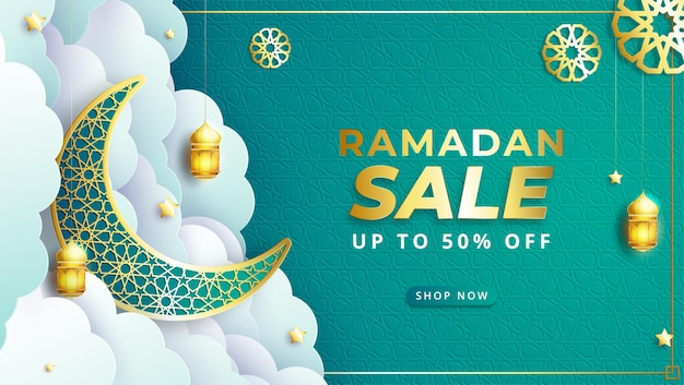 Realistic ramadan kareem sale banner with lantern crescent moon and discount frame