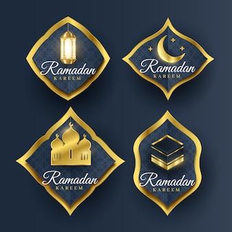 Realistic ramadan label collection