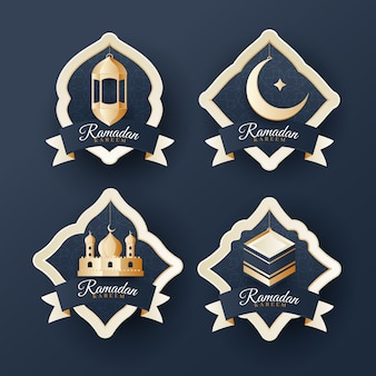 Realistic ramadan label collection