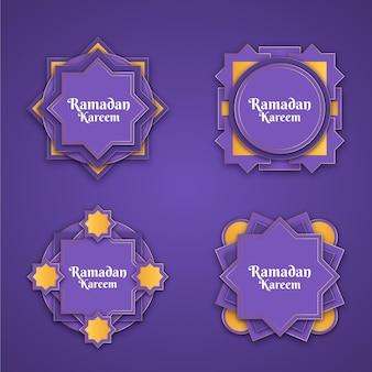 Реалистичная коллекция этикеток рамадана Бесплатные векторы