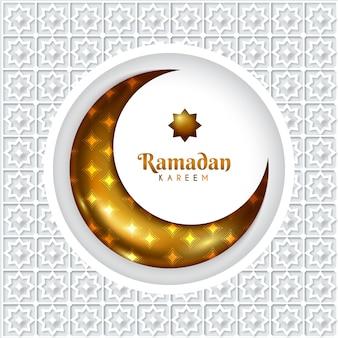 Realistic ramadan wallpaper with moon