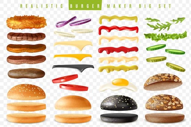 孤立した要素で設定された現実的な準備ができているハンバーガーメーカー