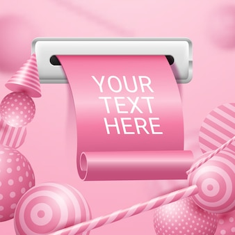Realistic receipt rolled papers on pink background