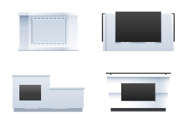 Realistic reception counter table collection