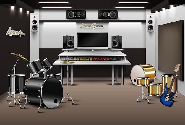 Реалистичная студия звукозаписи.