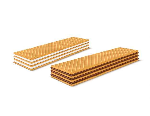 초콜렛과 우유로 채워진 사실적인 직사각형 바삭한 웨이퍼