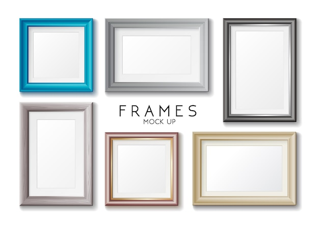 Realistic rectangular gold and blue frames set, template
