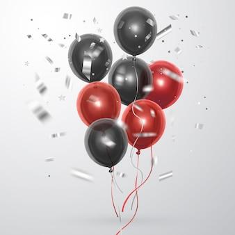 현실적인 빨간색과 검은 색 풍선