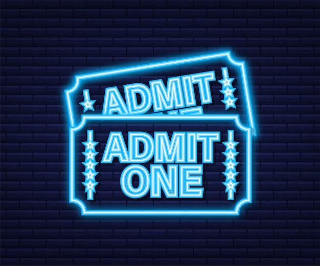 Реалистичный красно-синий билет на шоу. старые входные билеты в кино премиум-класса. неоновая иконка. векторная иллюстрация.