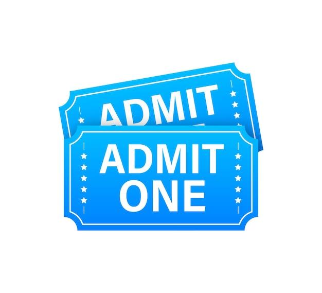 リアルな赤と青のショーチケット。古いプレミアムシネマ入場券。