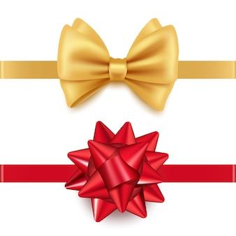 Реалистичные красные и золотые подарочные банты на белом фоне