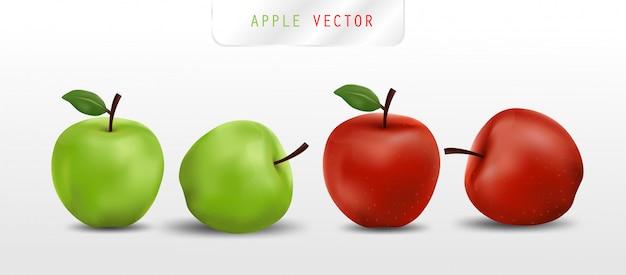 Реалистичные красные и зеленые яблоки