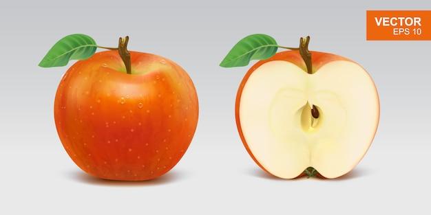 Иллюстрация реалистичные красные яблоки
