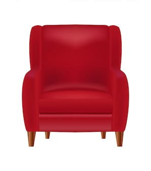 Realistic red armchair  front view isolated on white