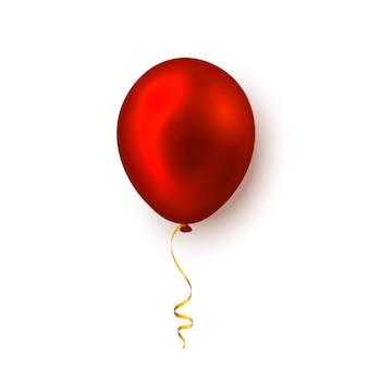 白で隔離されたリアルな赤い風船