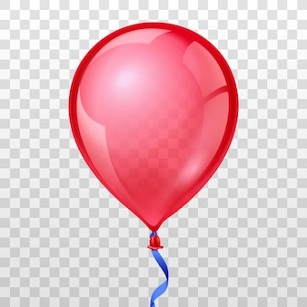 Realistic red balloon on transparent background