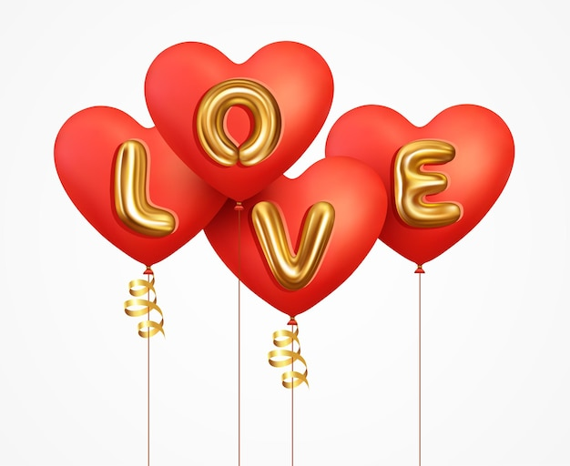 Realistic red balloons heart with gold metallic text lettering