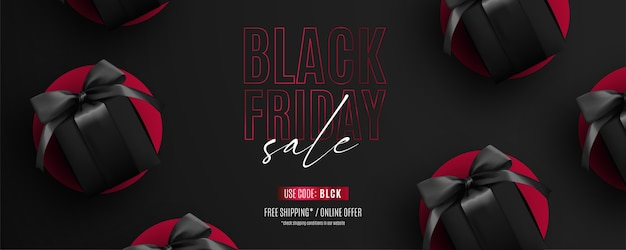 Realistic red and black black friday sale banner