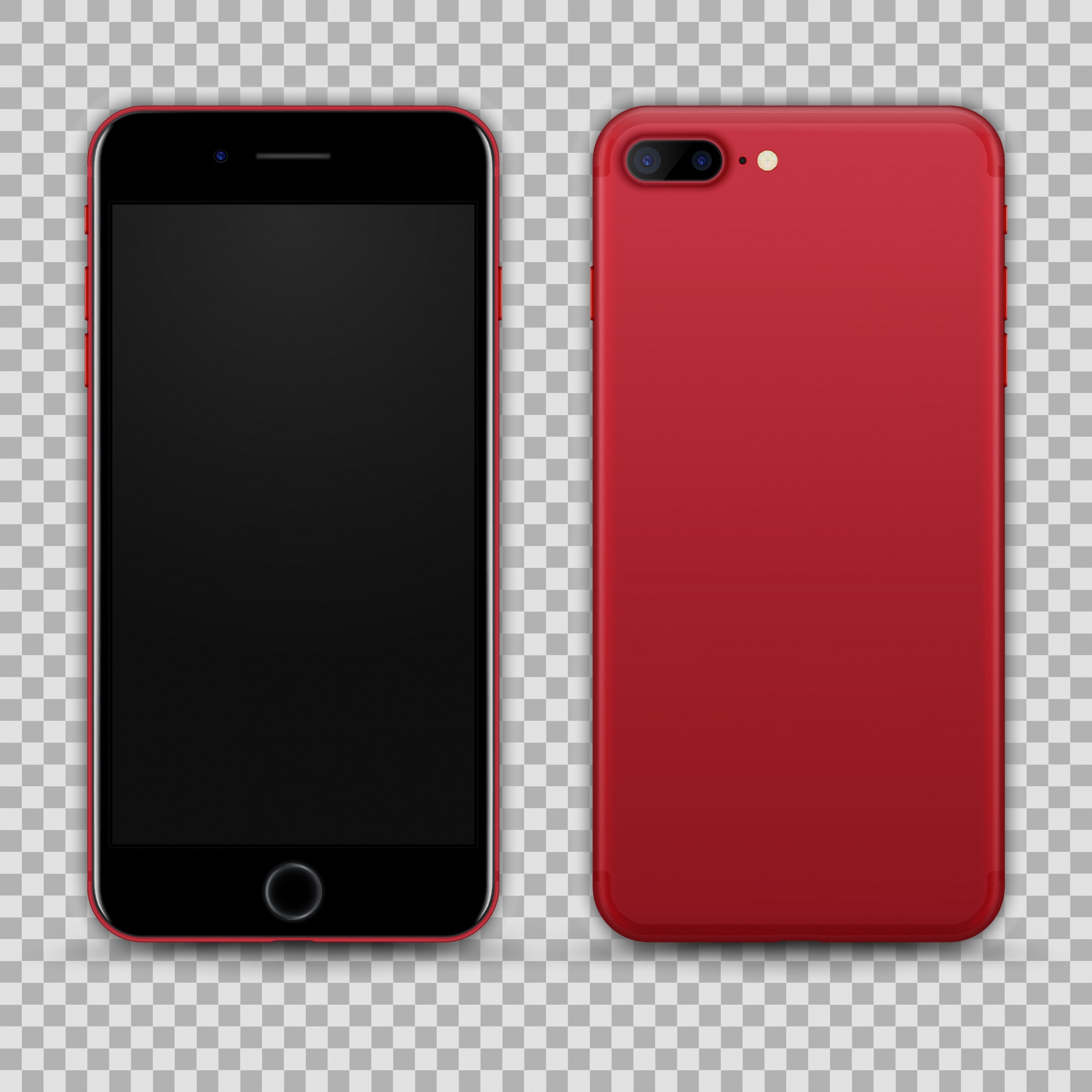 Realistic Red Black Smartphone isolated on Transparent Background. Front and Back View