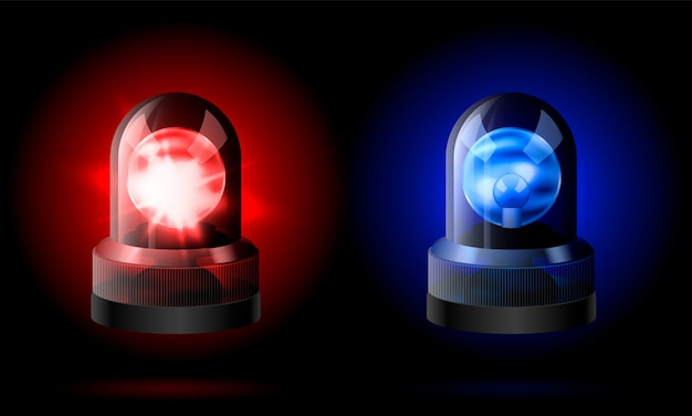 Realistic red and blue flashers siren.