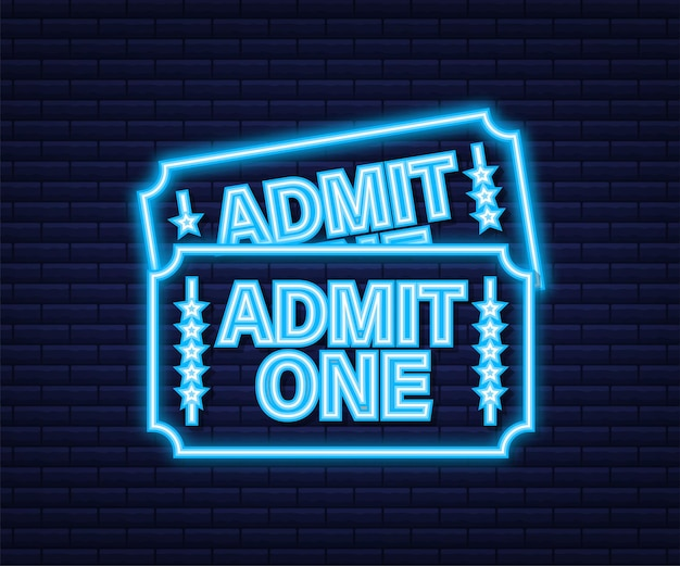 Realistic red and blue show ticket. old premium cinema entrance tickets. neon icon. vector illustration.