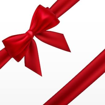 현실적인 붉은 활과 리본. 장식 선물, 인사, 공휴일 요소.