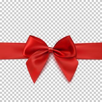 透明な背景に分離されたリアルな赤い弓とリボン。パンフレットやグリーティングカードのテンプレート。