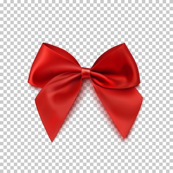 透明な背景に分離されたリアルな赤い弓。