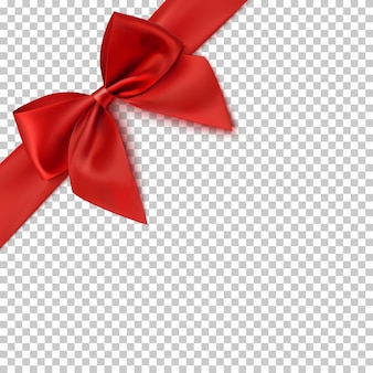 Realistic red bow and ribbon  on transparent background.  illustration.