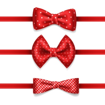Realistic red bow tie with white dots