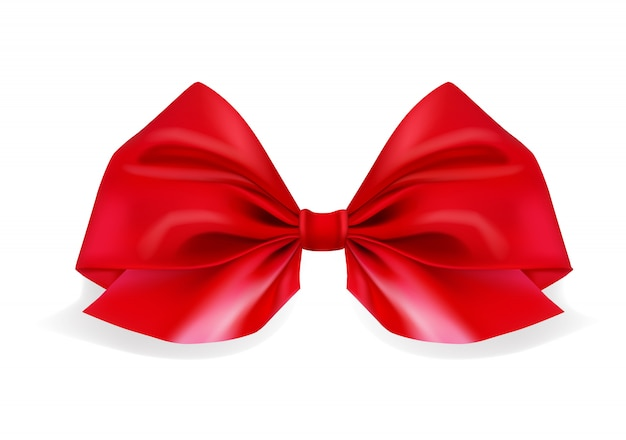 Realistic red bow on white