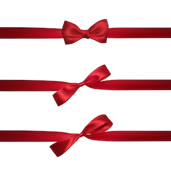 Realistic red bow with horizontal red ribbons isolated on white. element for decoration gifts, greetings, holidays.