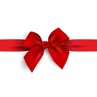Realistic red bow with ribbon isolated