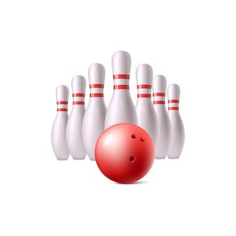 Реалистичный красный шар для боулинга и белые кегли, изолированные на белом фоне