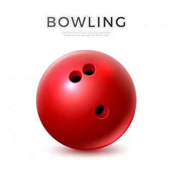 Реалистичный красный шар для боулинга с отверстиями