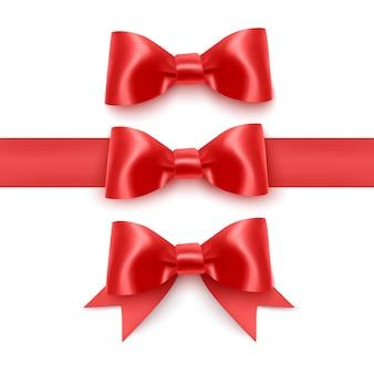 現実的な赤い弓、白い背景で隔離のリボン
