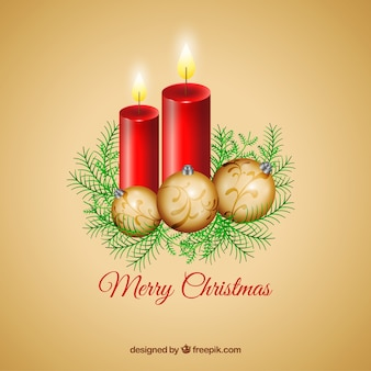 Realistic red candles and golden baubles