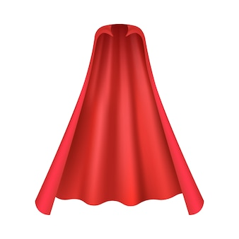 Realistic red cape for vampire or superhero costume seen from front view